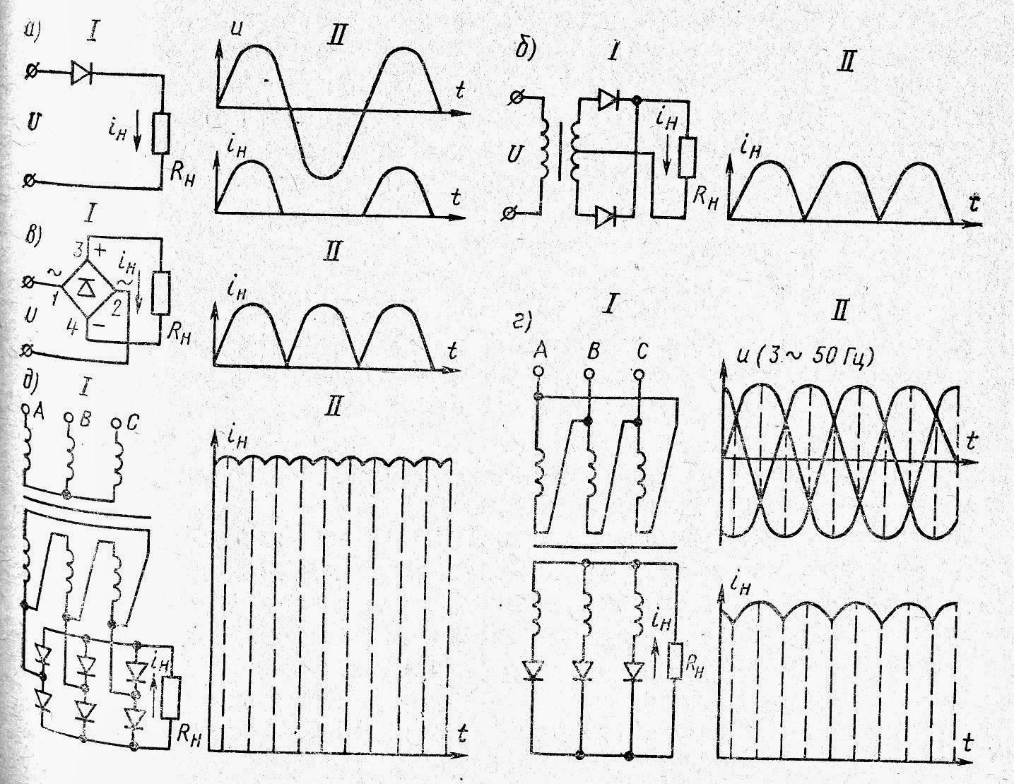 Схемы выпрямления переменного тока