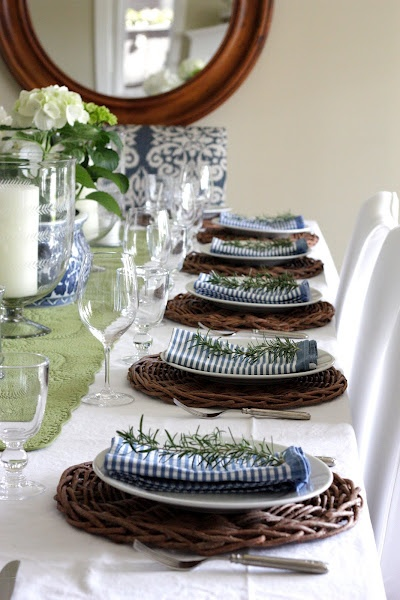 For a casual yet beautiful setting patriotic napkins wicker chargers red and white flowers and cute touches like beer in Mason jars are a wonderful way ... & Setting the perfect summer table.....and a tabletop giveaway! - The ...