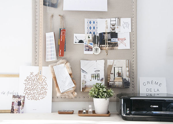 DIY Nailhead Corkboard created by Earnest Home Co. || Friday Favorites at www.andersonandgrant.com
