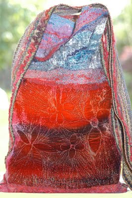 Sac bag made with hand dyed silk velvet and vintage fabrics