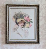 Вышивка девушка в шляпе