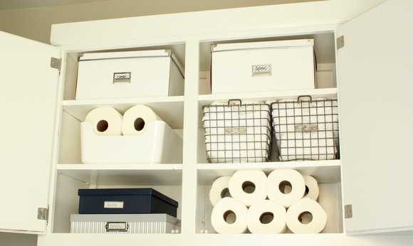 Organized laundry room cabinets