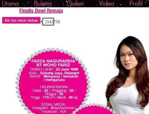 Cara undi pemenang Dewi Remaja 2014/2015, cara vote undian peserta finalis Dewi Remaja, cara undi Raysha Rizrose (Farza Naquraisha) adik Nelydia Senrose dan Uqasha Senrose, cara buat undian Zamrina Zamrim peserta Dewi Remaja tahun 2015