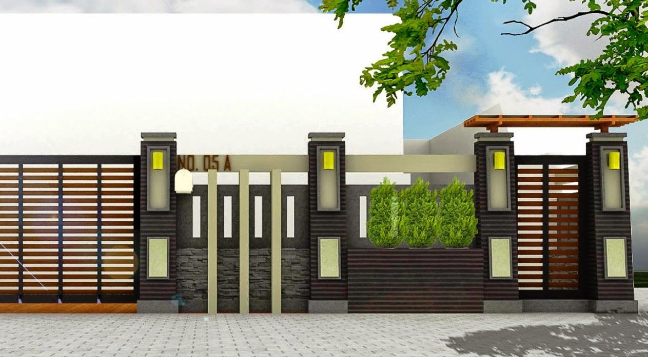 Model Pagar Rumah Minimalis Modern Dari Kayu dan Tembok