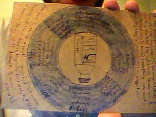 postcard jonah sent-drawing of an insulin vial inside of a blue crayon circle containing a timeline of diabetes events, bracketed by text- picture is blurry