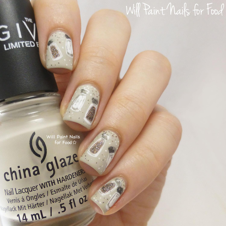 Salt and pepper nail art