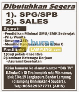 Lowongan Kerja Lampung, 11 agustus 2014 BIG TV Lampung