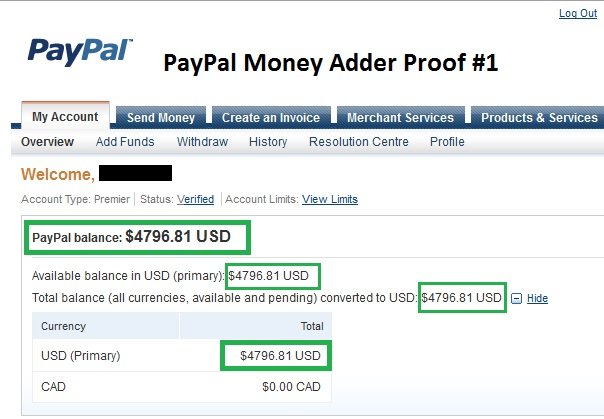 free paypal account with money