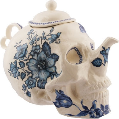 Skull Teapot in Flowers by Trevor Jackson