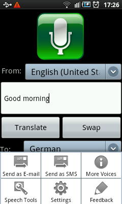 Android Voice Translator Menu
