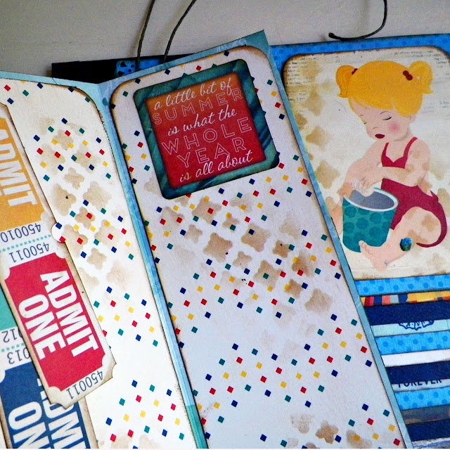 Wallet Mini Album created by Lisa Novogrodski for BoBunny featuring the Boardwalk collection