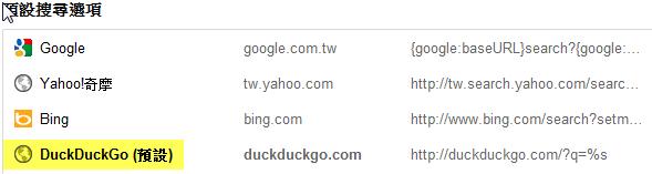 預設 DuckDuckGo 為搜尋引擎