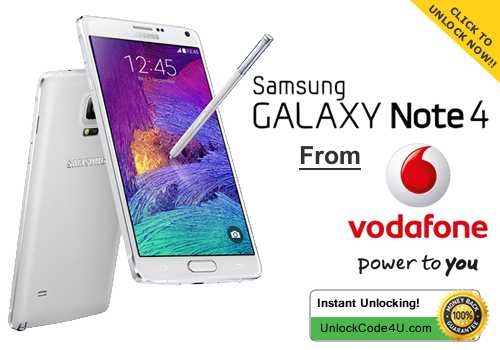 Factory Unlock Code for Samsung Galaxy Note 4 from Vodafone