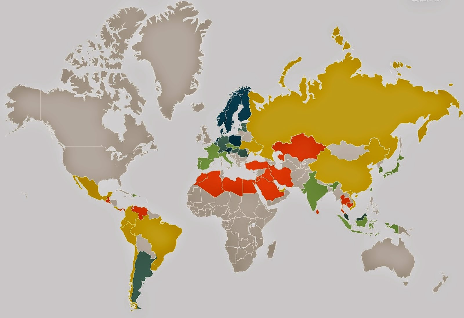 Click On LEVELS OF ENGLISH COMPETENCE THROUGHOUT THE WORLD - World map in english language