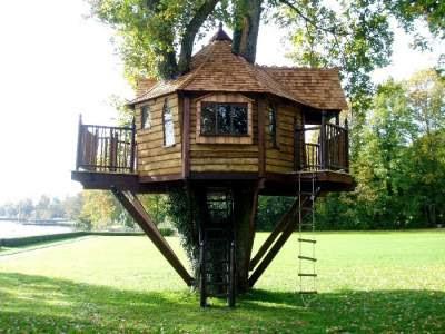 Dise o de una casita de madera en un rbol jardinitis - Como construir una casa en un arbol ...