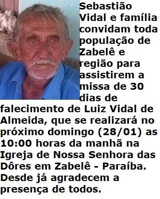 CONVITE: Missa de 30 dias de falecimento de LUIZ VIDAL DE ALMEIDA