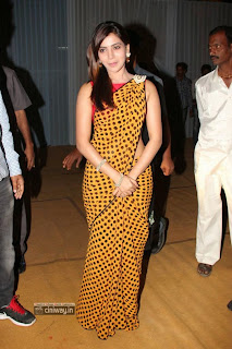 Samantha-New-Stills-in-Yellow-Saree