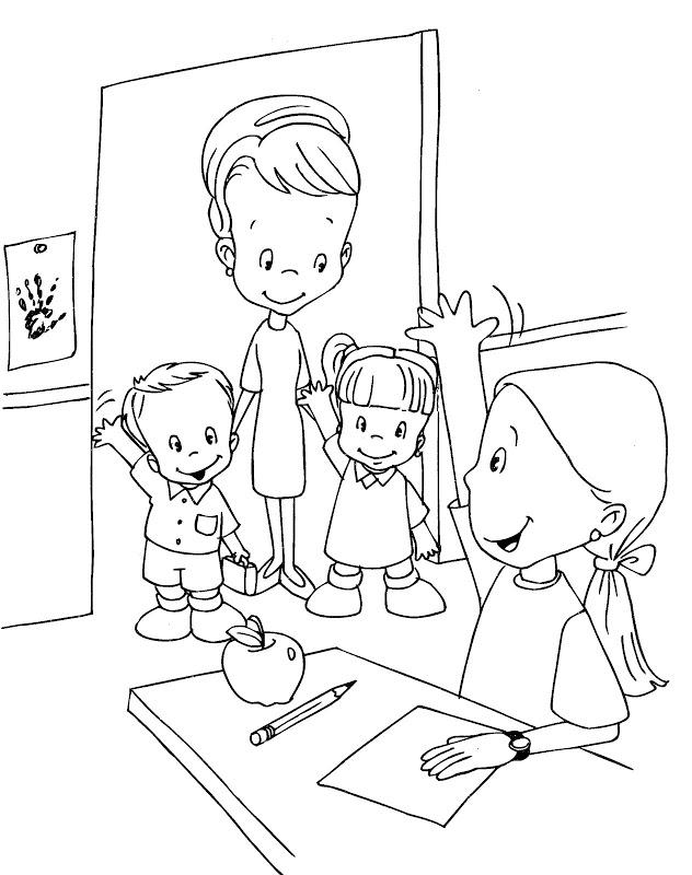Colorea tus dibujos ni os iniciando clase para colorear y - Ninos en clase dibujo ...