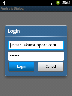 Android  Dialog - Custom Dialog for User Login