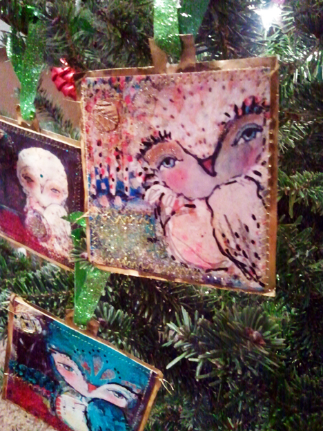 12 Artsy Ornaments of Christmas Class! - Whimsical Owls And Other Mixed Media Art From The Heart By Juliette