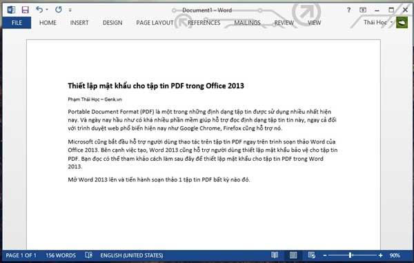Thiết lập mật khẩu cho tập tin PDF trong Office 2013