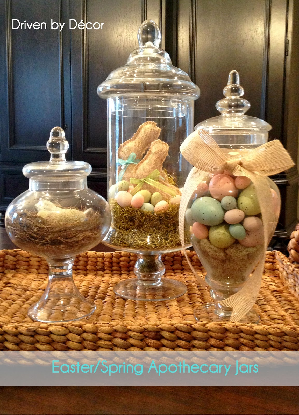 Apothecary jars decorated for spring easter driven by decor for Kitchen jar ideas