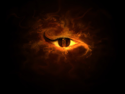 devils eyes with fire