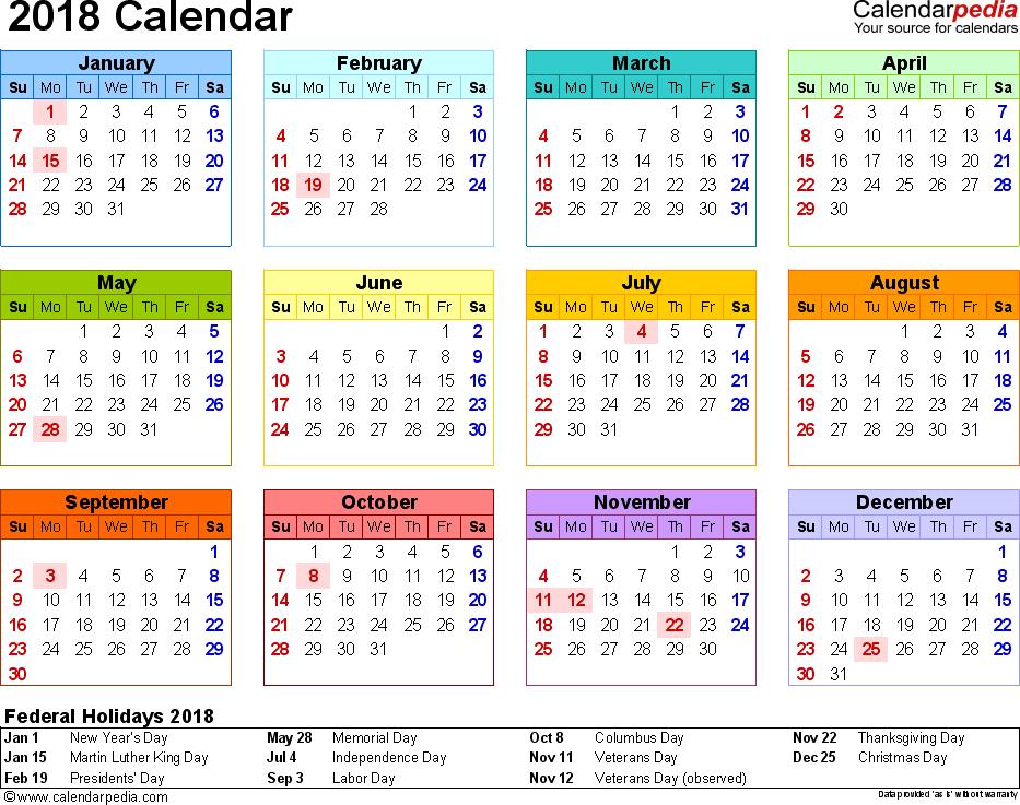 microsoft printable calendar 2018