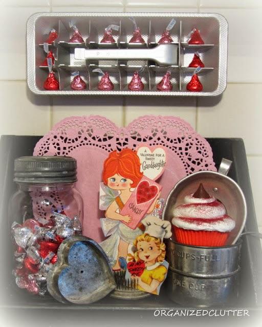 Vintage Valentine's Day Vignette www.organizedclutterqueen.blogspot.com