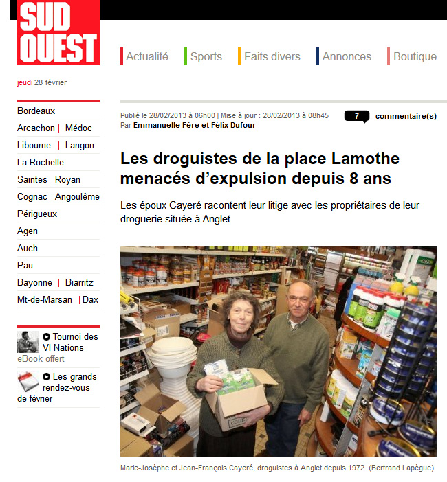 droguerie centaur anglet journal sud ouest. Black Bedroom Furniture Sets. Home Design Ideas