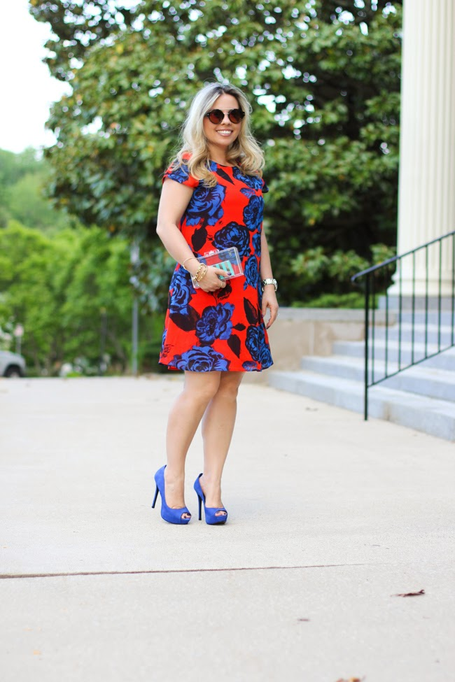 asos orange dress with blue flowers