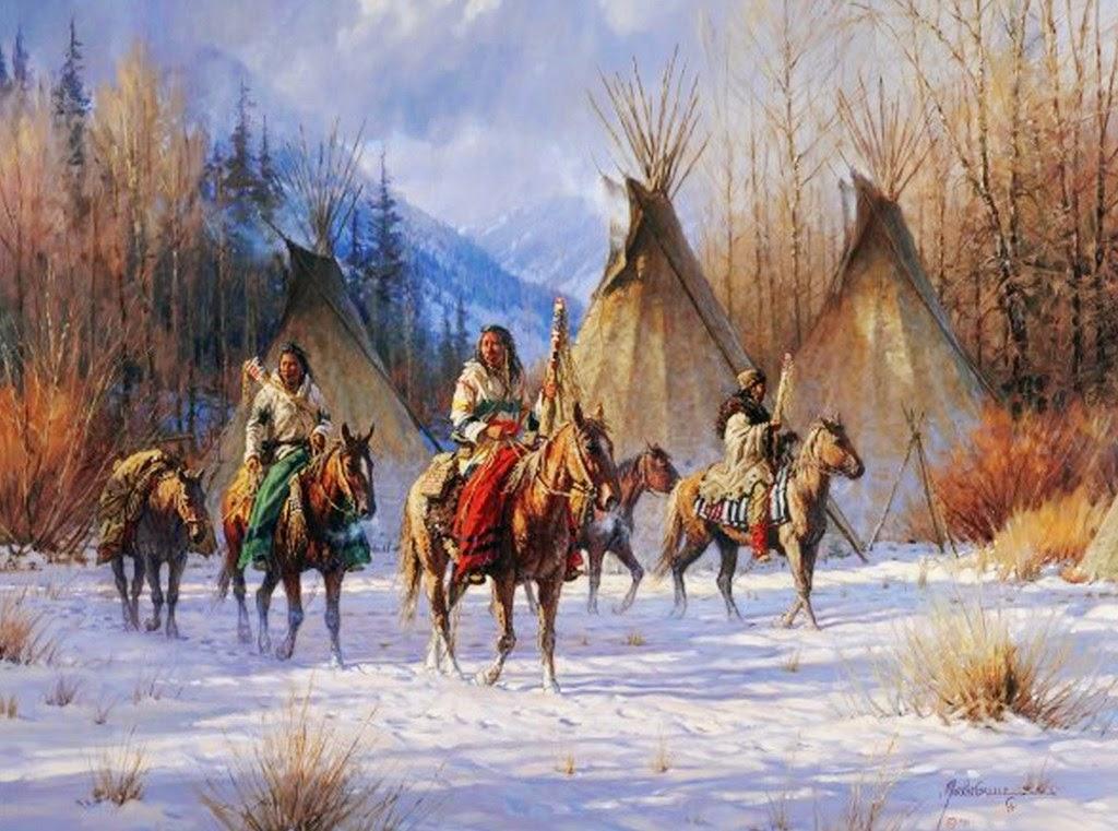 paisajes-con-indios-y-corceles-al-oleo