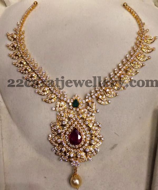 cz mango short necklace jewellery designs
