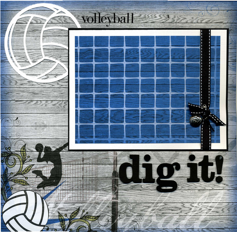 dig it 12x12 premade volleyball scrapbook page