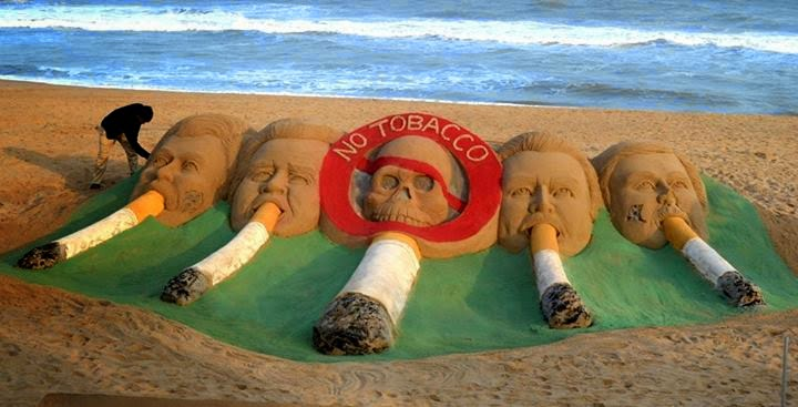 sculpture build by S.Pattnaik to spread the no smoking message