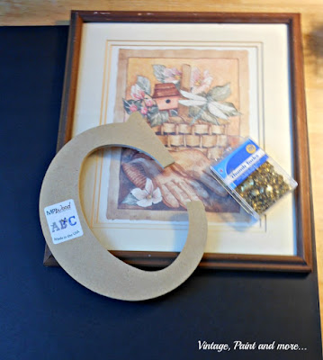 Vintage, Paint and more... supplies used to diy a monogram wall art
