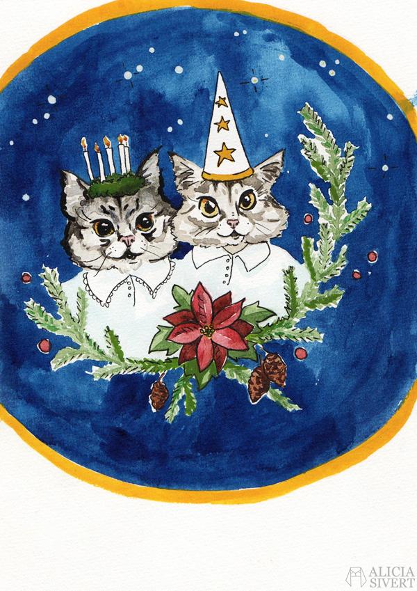 aliciasivert, alicia sivert, alicia sivertsson, lussekatt, lussekatter, tofslan och vifslan, katt, katter, lucia, målning, måla, kreativitet, skapa, akvarell, vattenfärg, aquarelle, watercolor, watercolour, water color, water colour, painting, create, cat, cats, christmas card, xmas, jul, julkort