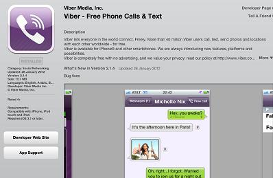 Viber for iPad, iPod Touch