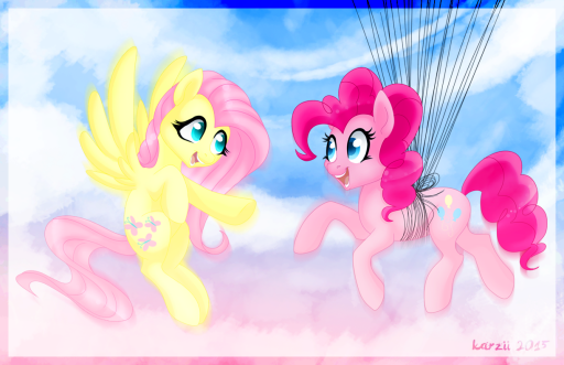 Commission for a friend requested Pinkie Pie​ and Fluttershy​ together