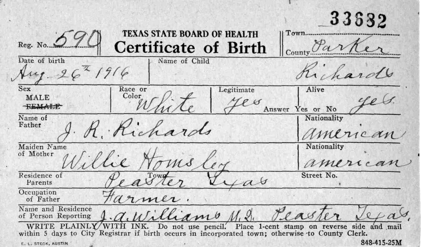 Leons birth and amendment 1916 and 1972 genealogy traces 1916 was my fathers birthday and that his parents were john robert richards and willie laura homsley and that he was born in peaster texas xflitez Image collections