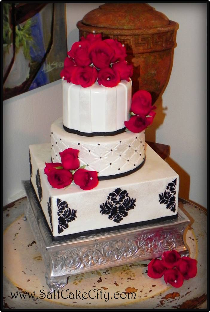 To keep to the black white and red theme we did an all white wedding cake