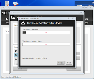 genymotion downloading your virtual device