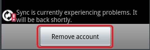 samsung galaxy S II remove account select