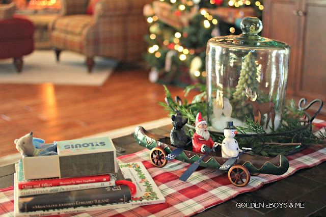 Mouse in a matchbox, Christmas books and tree under dome-www.goldenboysandme.com
