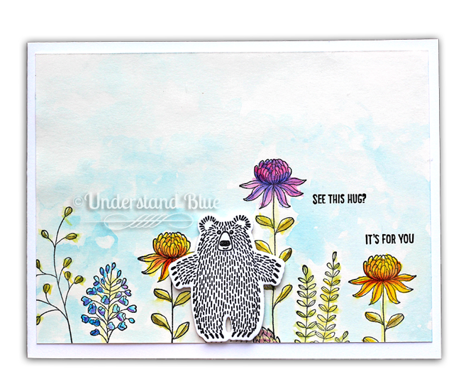 Bear Hugs and Flowering Fields Watercolor by Understand Blue