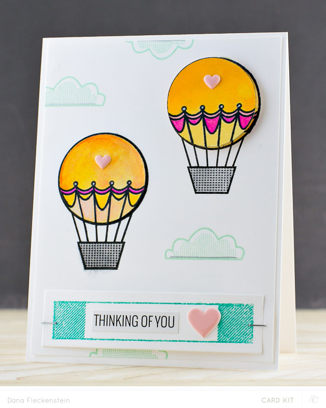Thinking of You card with hot-air balloon by @pixnglue