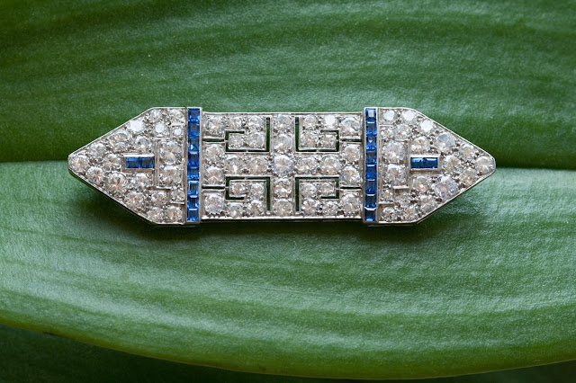 step cut sapphire brilliant cut diamonds estate antique