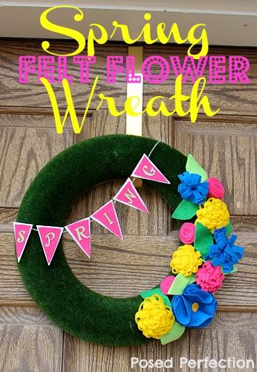 Spring Felt Flower Wreath