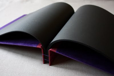Black pages handbound book
