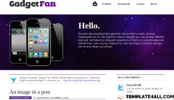 Gadgets Purple Ipod Blogger Template